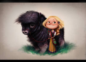 Girl with muskox