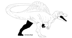 JP3 Spinosaurus Line Art [Free] MS PAINT FRIENDLY by IrritatorRaji