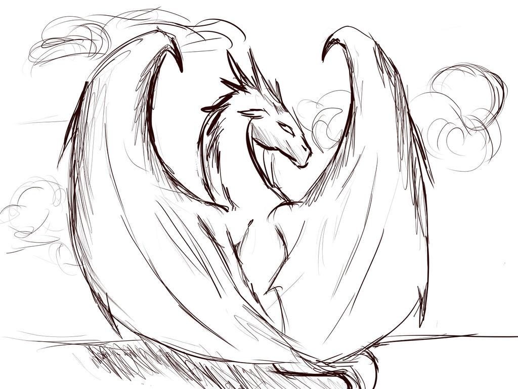 Dragon sketch by bornadragonsoul