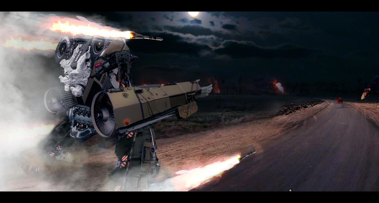 Sci - Fi Mech action scene by Jacek139