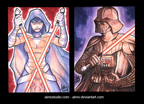 Asajj Ventress and Darth Vader by aimo