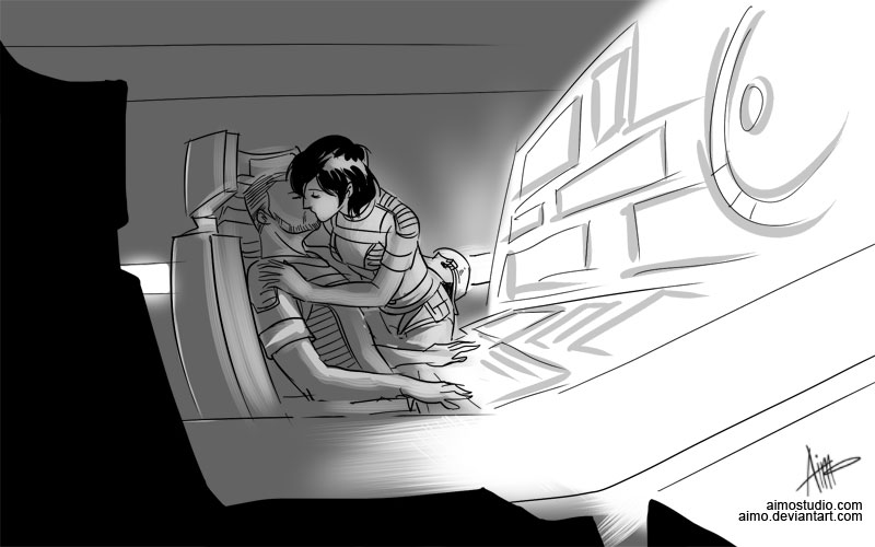 Présentations. - Page 3 Mass_Effect___In_the_Bridge_by_aimo
