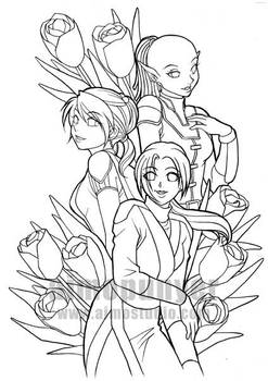 Jedi Ladies of KoTOR - Lineart