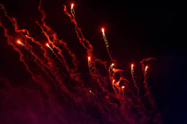 Red Fireworks by SavageLandPictures