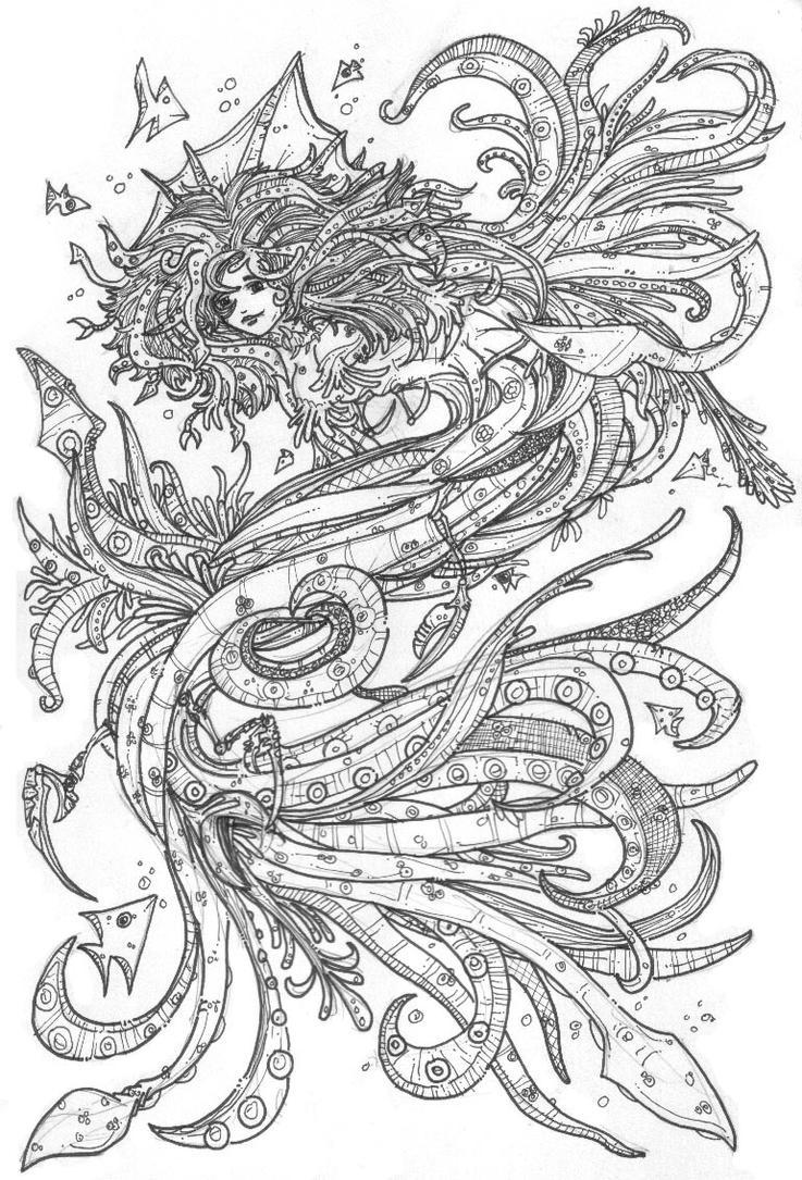 Squid-Mermaid Alexis by newvani