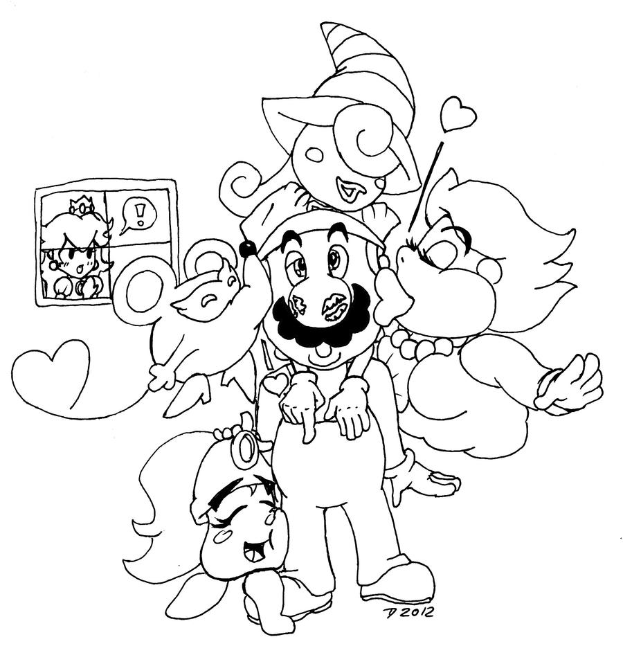 Paper mario harem by scourgeyz on deviantart for Paper bowser coloring pages