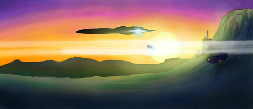 Starship in sunset