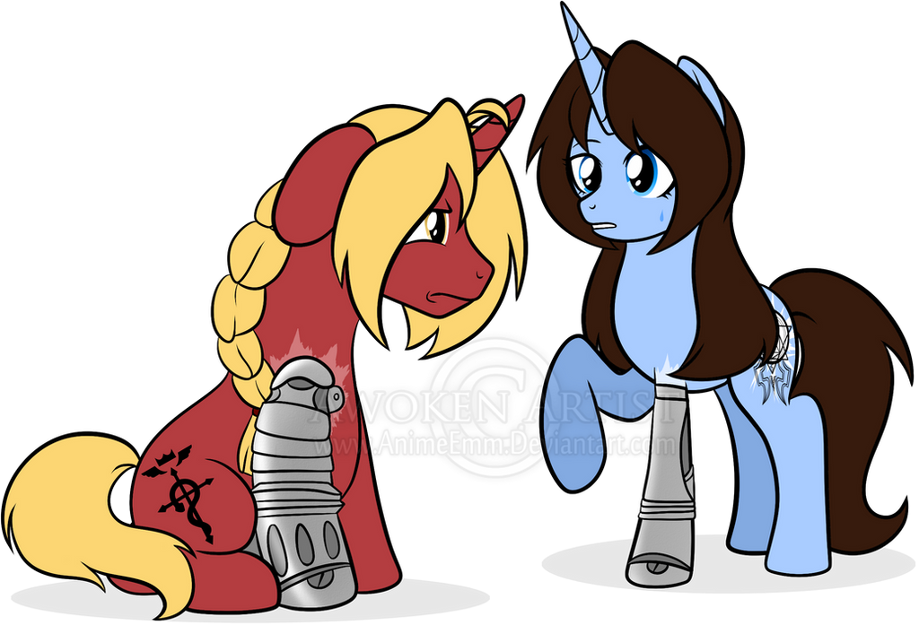 MLP Art: Edward Elric and Emmy Rosenthal by AnimeEmm