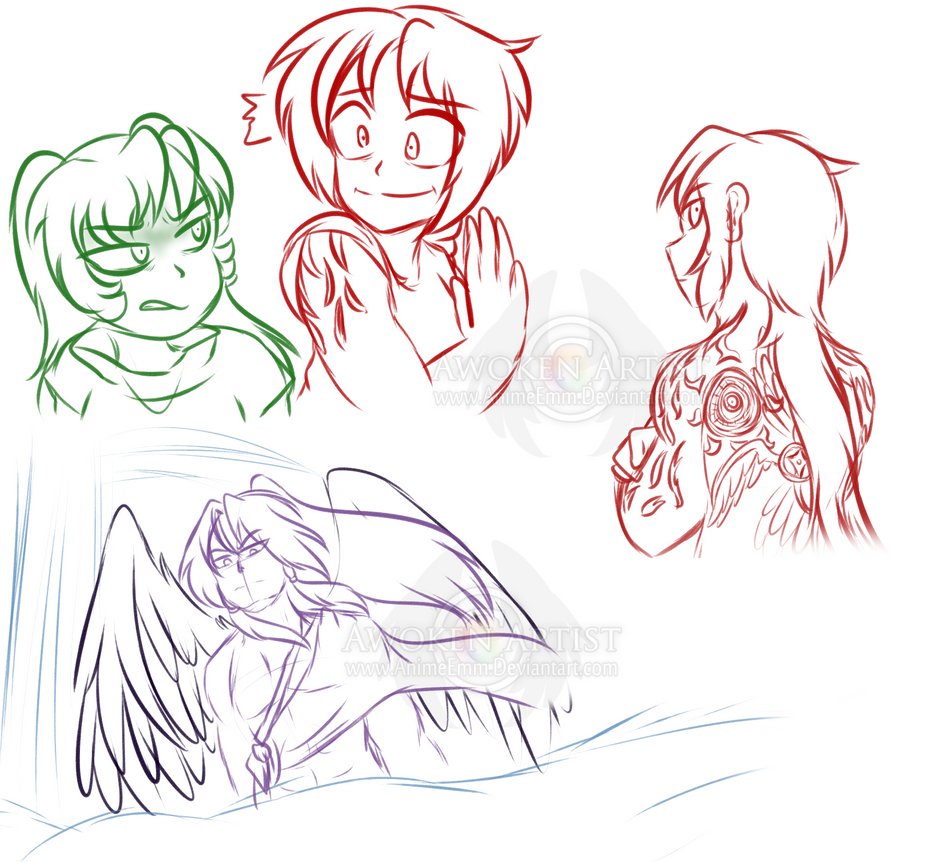 doodle arts the tattooed angel sketches by animeemm on deviantart