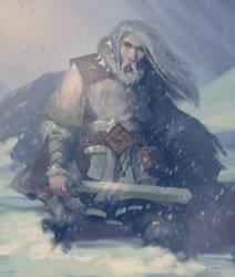 Swordman in a Blizzard by jhtART
