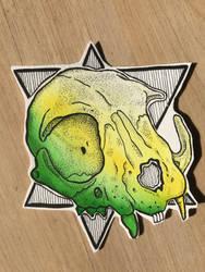  green cat skull  by Jo-Thatsall