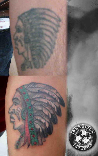Red Indian Coverup - chest tattoo