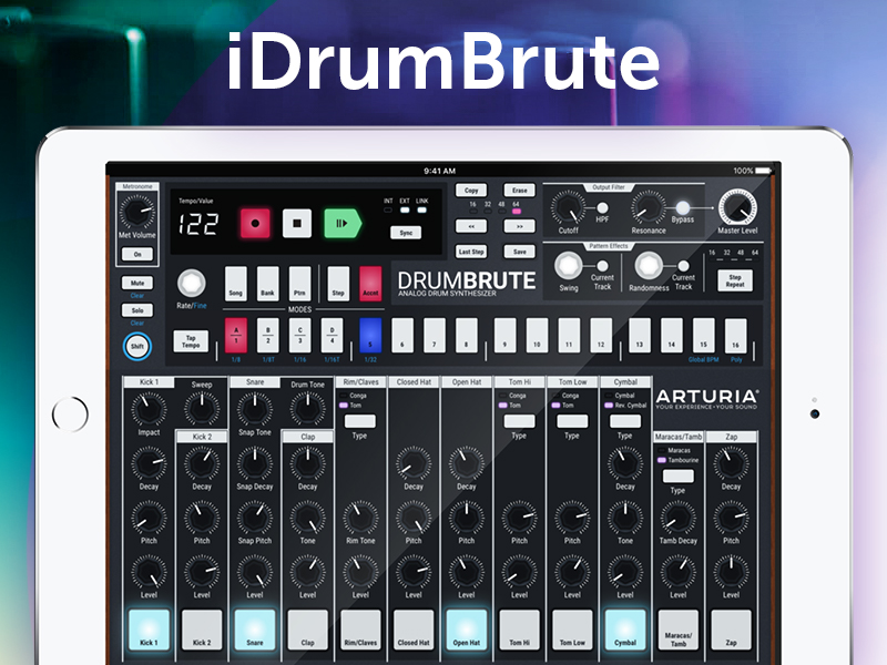 Arturia DrumBrute drum machine for iPad concept by briztaker