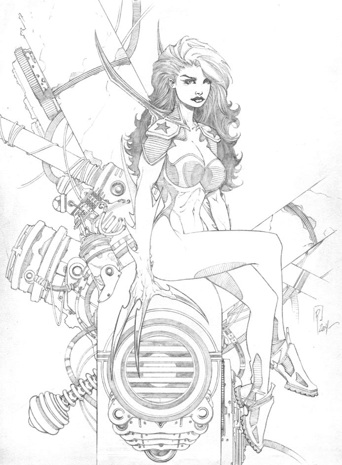 Line Drawing Waterfall : Techgirl in the shell pencils by nailbomb on deviantart