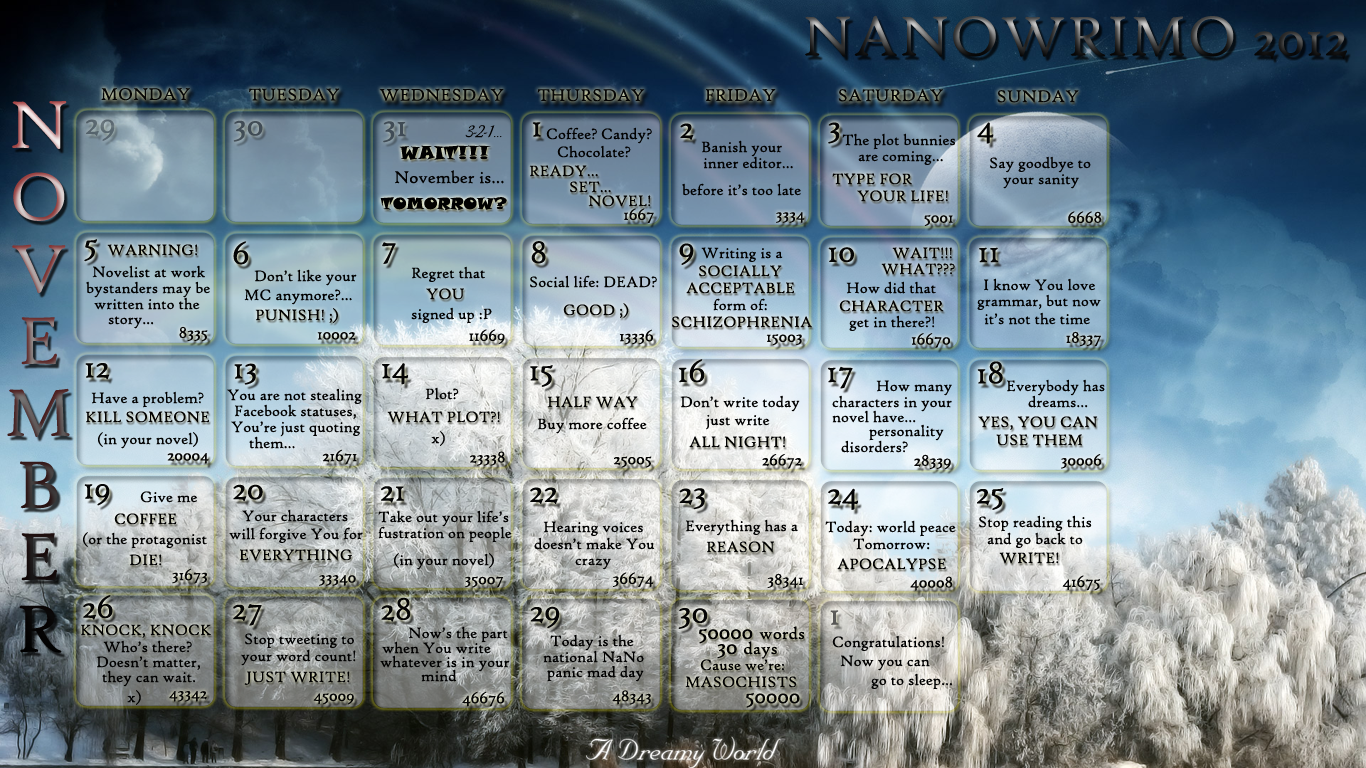 NaNoWriMo 2012 Calendar 02 by JuliaWoodrow