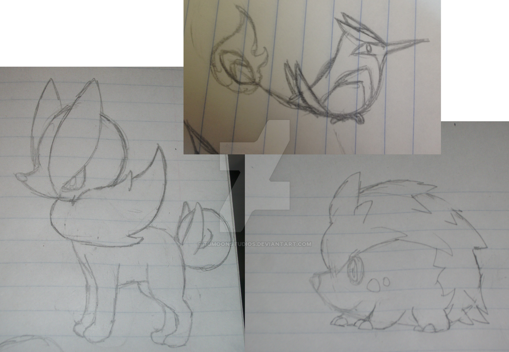 fakemon sketch dump by tjmoonstudios