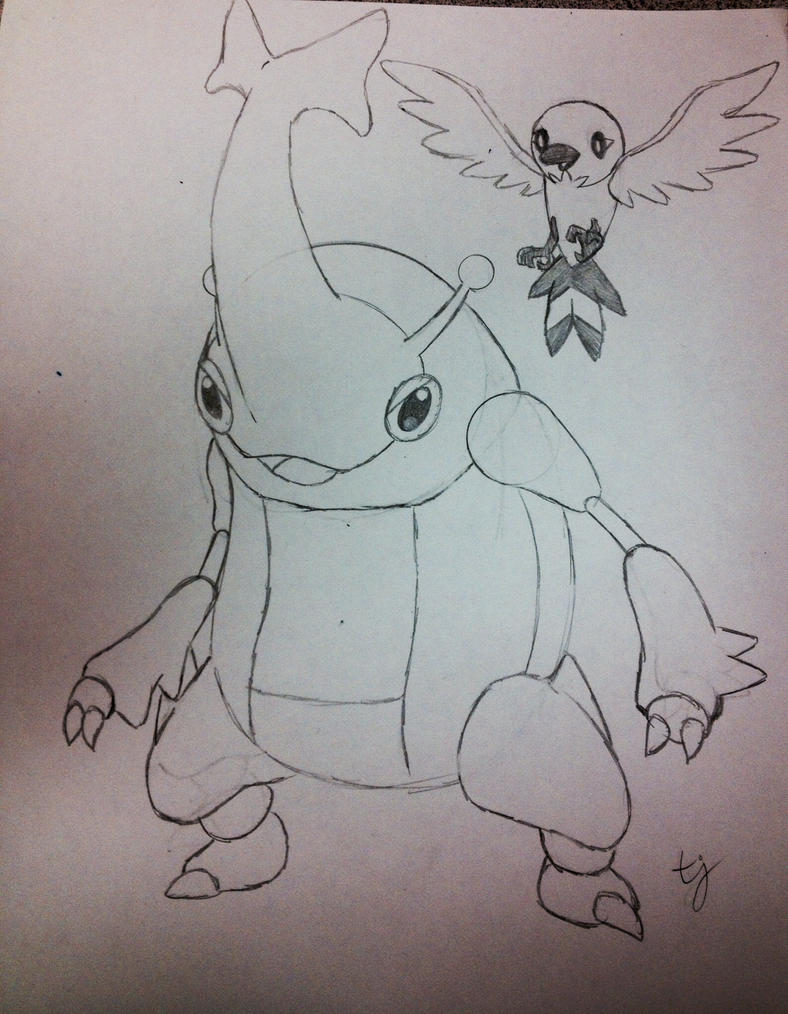 Heracross and Fletchling - WIP by tjmoonstudios