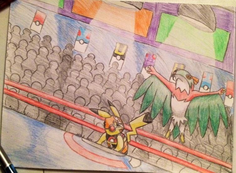 Cosplay Pikachu vs. Hawlucha by tjmoonstudios