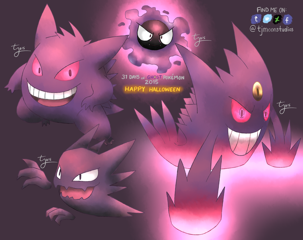 Day 31: The Gastly Line - 31 Days of Ghost Pokemon by tjmoonstudios