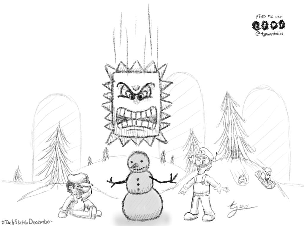 DailySketchDecember Day 2: Mario and Luigi by tjmoonstudios