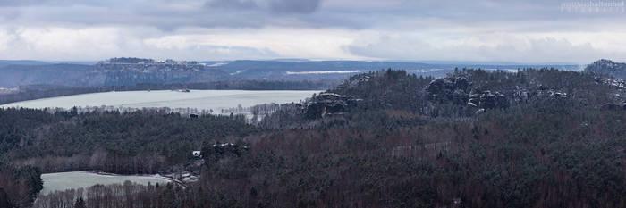 Festung Koenigsstein Winter Pano