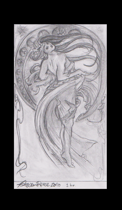 1 hour graphite study of Alphonse Muchas Dance by DifferentArtWorks