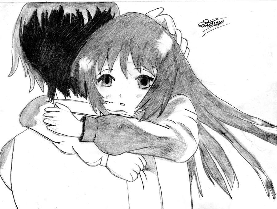 Anime hugging by flashtheteddy on deviantart - Anime boy hugging girl ...