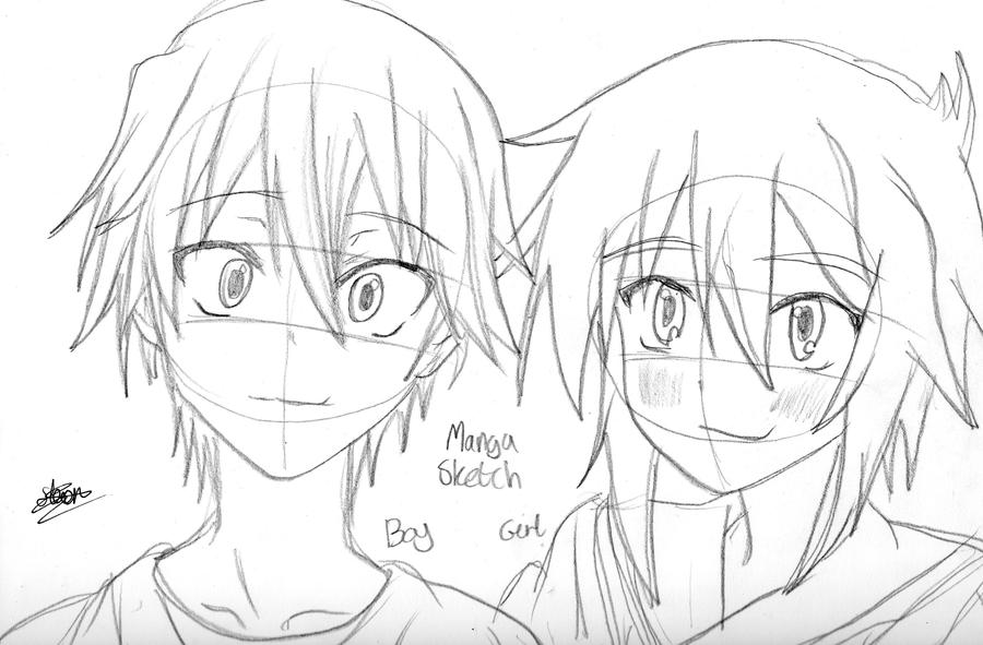 how to draw anime girl and boy
