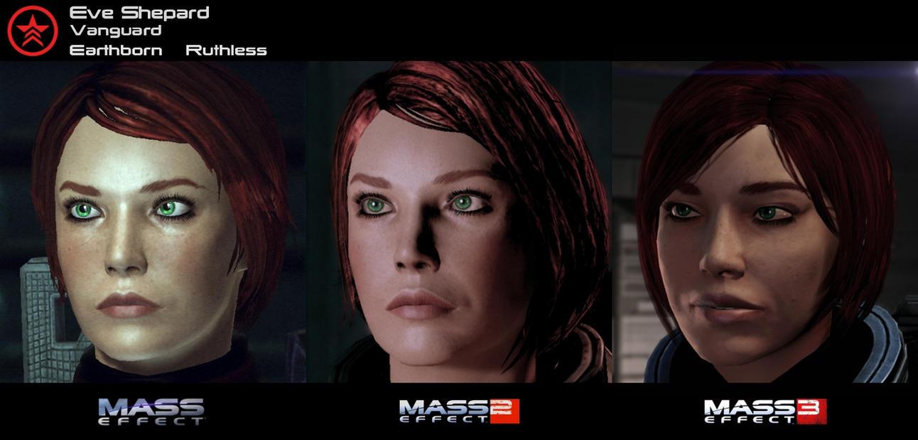 Mass Effect 1-3 Character Evolution by HerrWidowmaker