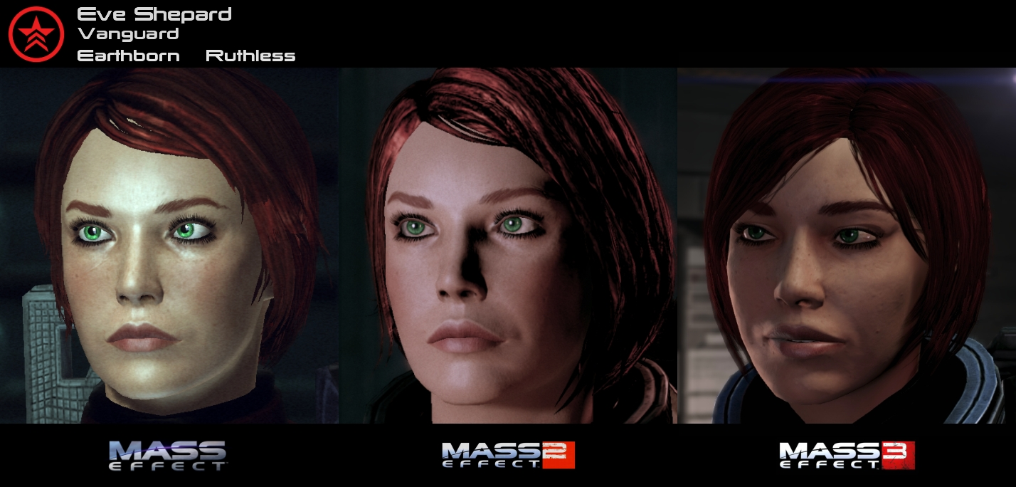 Mass Effect 1-3 Character Evolution by HerrWidowmaker