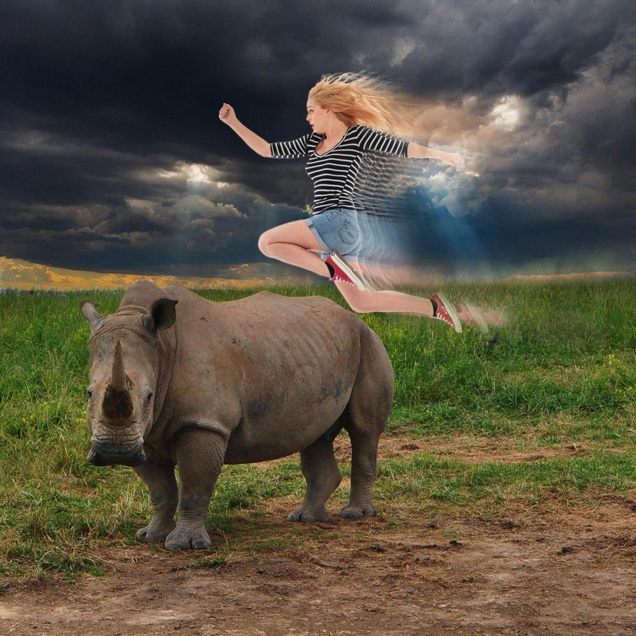 Rhino leaping by Slimdandy