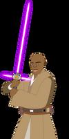 Mace Windu Wielding His Crossguard Lightsaber