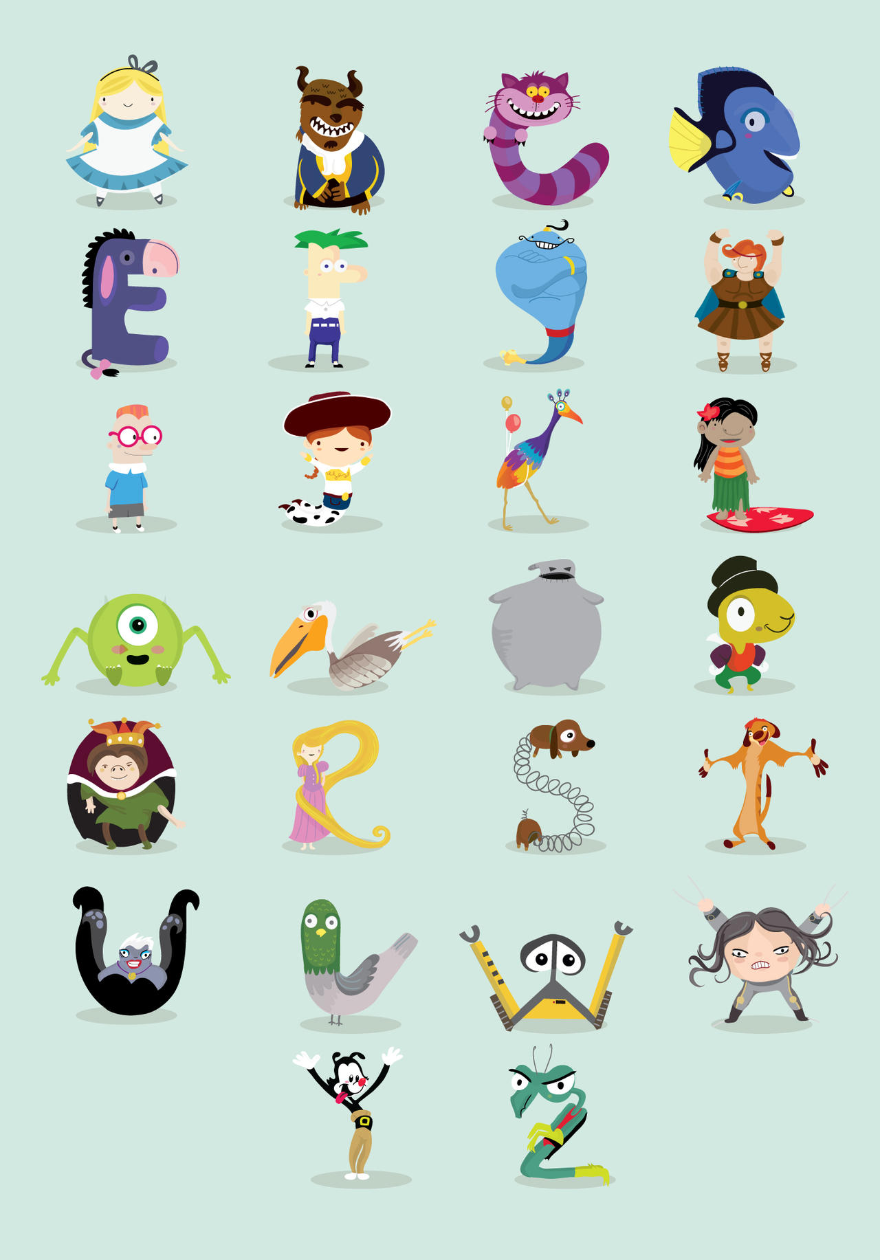 Animated characters alphabet by mjdaluz