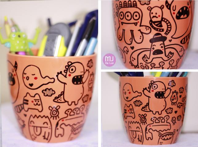 Monsters ceramic pencilholder by mjdaluz
