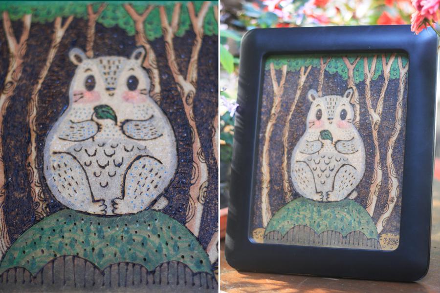 Totoro pirography by mjdaluz
