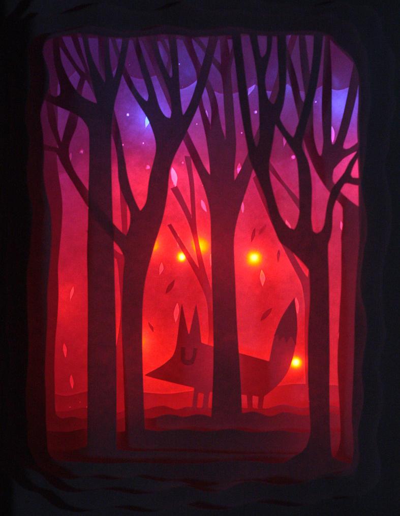 Fox in woods paper diorama by mjdaluz