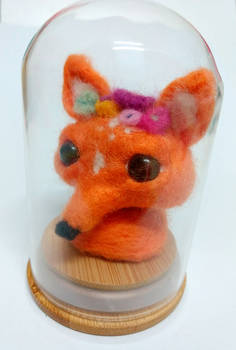 Needlefelted flower fox