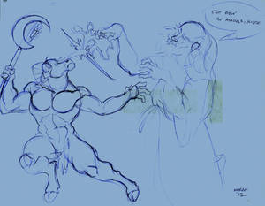 Strago fighting an Ash monster