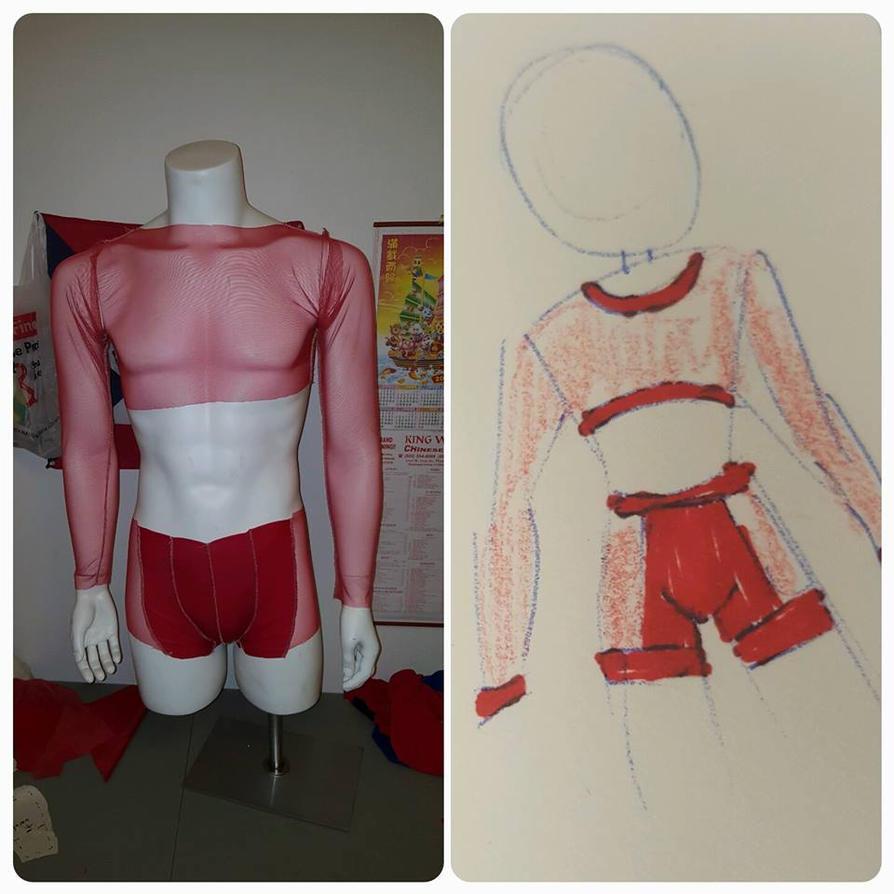 Red Mesh Costume by Hamham-Chibi