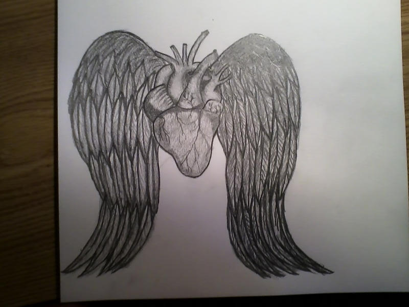 Heart with angel wings pencil drawing by mychalc