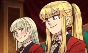 Mary and Ririka crossed looks