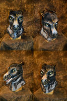 Blue Steel Dragon Partial Head by temperance