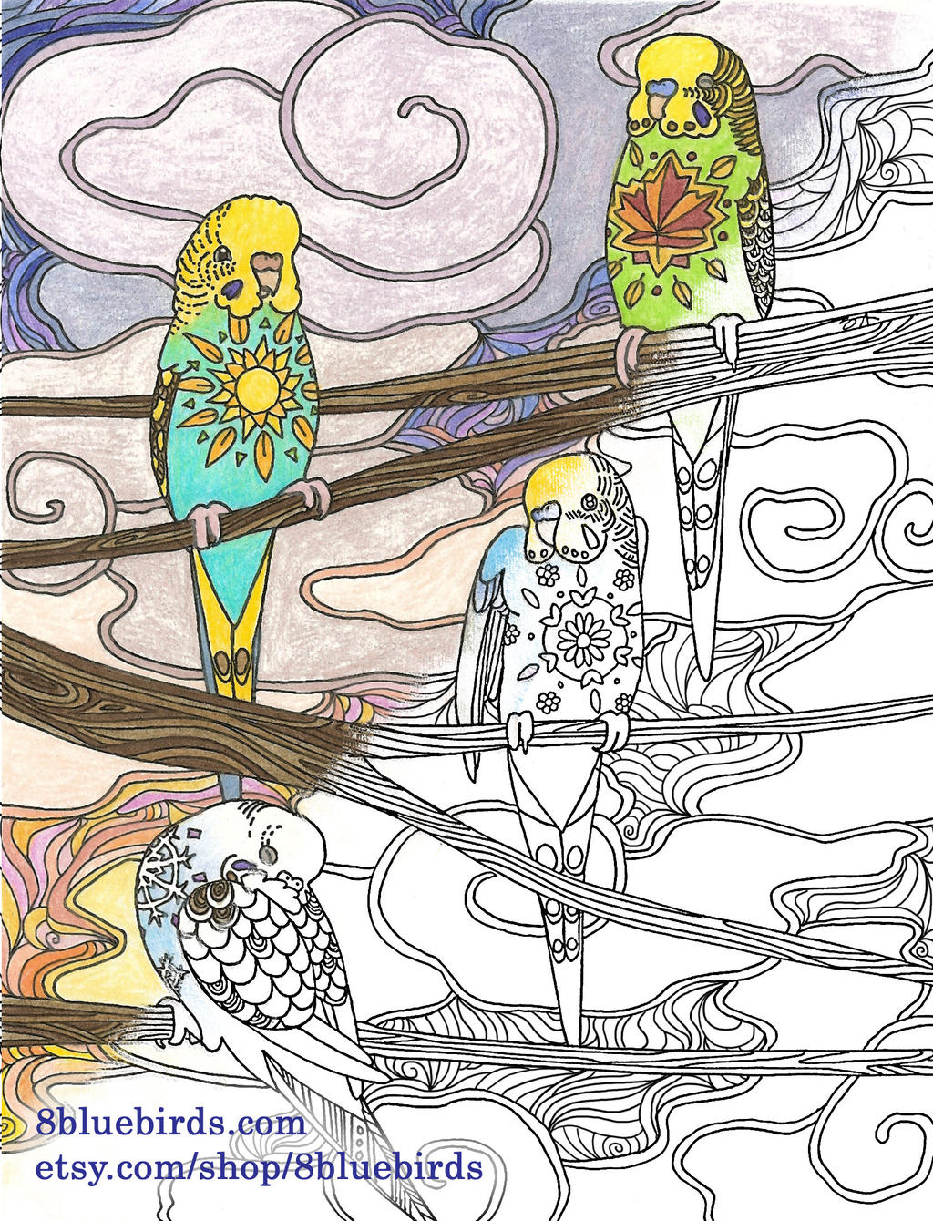 Budgie Seasons Coloring Page By The Wandering Bird On Deviantart