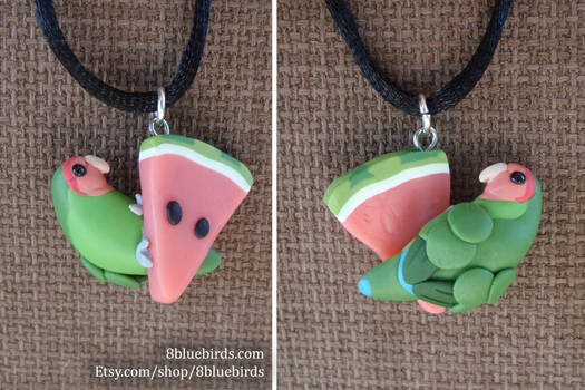 Melon Lovebird Pendant (prototype)