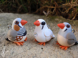 Zebra Finch Family (Comm) by The-Wandering-Bird
