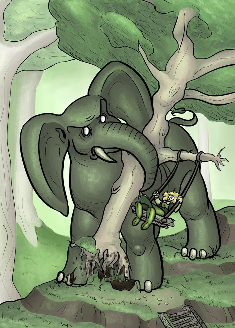 Angry Angry Elephant - MTG Elephant Token Art by dimak134