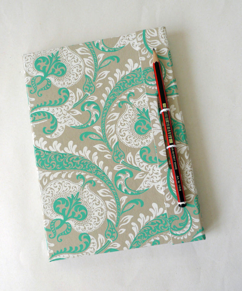 White Cover Sketchbook : Green and white wrap cover sketchbook by artygirl on