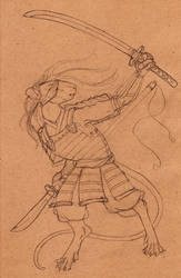 Rat Samurai Sketch by DrunkenSaytr
