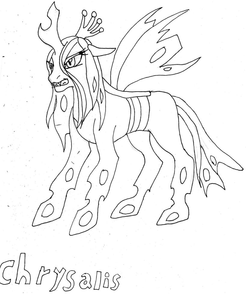 Queen chrysalis sketch by mangafa20 on deviantart for Queen chrysalis coloring pages