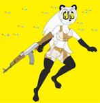 Hikari the panda holds AK47 Rifle for self defense by watertank1995